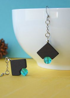 Les coins ronds  wooden earrings with blue beads by 3dots on Etsy, $26.00