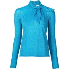 Delpozo Metallic Tie Collar Blouse ($796) ❤ liked on Polyvore featuring tops, blouses, blue, collar top, turquoise blouse, turquoise top, metallic top and tie collar blouse