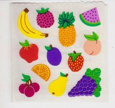 Vintage Sandylion  Fruit Sticker Mod Apple Banana Pineapple Cherry Small NEW #Sandylion