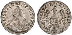 VI Groschen. Russian Coins. Russian Coinage for East Prussia. Konigsberg mint, 1761. 2,69g. Two hair locks on shoulder. Eagle´s right wing tip under I in REGNI, left under A in MONETA. Bit 723 var. About uncirculated. Starting price 2011: 800 USD. Unsold.