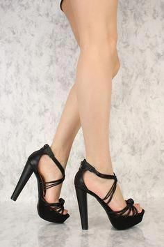e0fd3904e1e6 Black Strappy Knotted Accent Open Toe Platform Pump Chunky High Heels Faux  Leather  Platformpumps