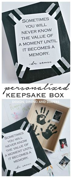 Personalized Keepsake Box To Store Special Gifts From Kids. Love the surprise hand prints inside.