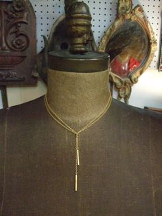Barred Lariat long gold tone necklace