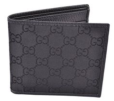 09af2fd57fc4 Gucci 143383 Men's Black Canvas GG Guccissima Short Bifold Wallet O/S  Gucci's GG Monogram Logo Pattern on Smooth Black Canvas Black Leather Trim  Black ...
