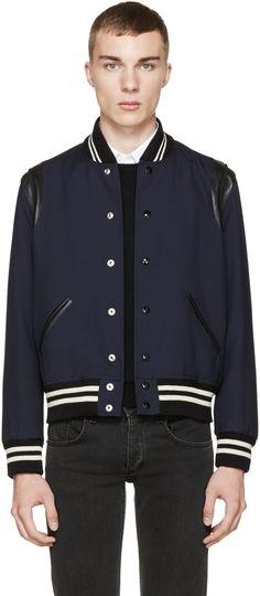 Saint Laurent Navy Teddy Bomber Jacket