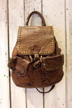 SMALL Vintage Brown (with studs) Handmade Italian Leather backpack 8c25e10795ed3