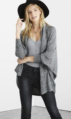 Love this outfit - fitted undershirt with oversized sweater - marl long sleeve cocoon cover-up from EXPRESS
