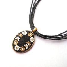 Black Clay Applique Necklace White Gold Flowers Floral Necklace Embroidery Necklace Art Clay Pendant Gift for Her Polymer Clay Jewelry