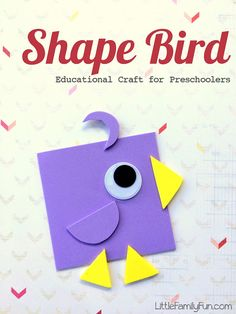 24 Ideas For Bird Crafts Preschool Fun Bird Crafts Preschool, Crafts For Teens To Make, Daycare Crafts, Easy Crafts For Kids, Toddler Crafts, Fun Crafts, Art For Kids, Craft Kids, Preschool Shapes