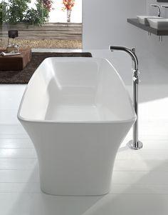 Stylish white bathroom with rectangular freestanding bathtub and modern bath sink by Victoria + Albert / Bathtub: Ravello Collection, Bath Sink: Ravello Collection