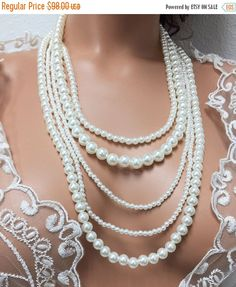 Bridal jewelry set long pearl necklace Wedding by GlamDuchess Pearl Necklace Wedding, Long Pearl Necklaces, Bridal Jewelry Sets, Unique Jewelry, Handmade Items, Handmade Gifts, Statement Jewelry, My Etsy Shop, Palette