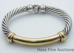 Massive Chunky 14k Gold Sterling Silver David Yurman Bracelet #DavidYurman #Bangle