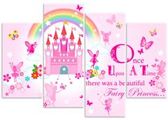 Princess Fairy Castle Flowers & Butterfly by RubybloomDesignsLtd Canvas Pictures, Print Pictures, Girl Pictures, Girl Room, Girls Bedroom, Bedroom Ideas, Petticoated Boys, Pink Pillows, Canvas Art Prints