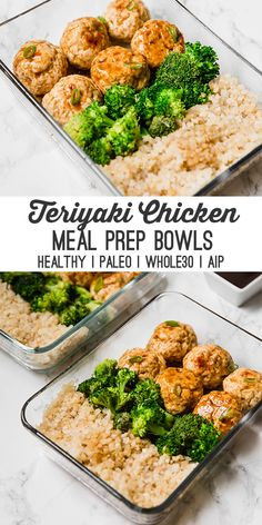 This teriyaki chicken meatball meal prep recipe is great for prepping on the wee.This teriyaki chicken meatball meal prep recipe is great for prepping on the weekend to have lunches or dinners for the week! It's paleo, AIP and an Clean Eating Recipes, Clean Eating Snacks, Healthy Eating, Healthy Cooking, Eating Raw, Eating Well, Healthy Chicken Recipes, Paleo Recipes, Healthy Teriyaki Chicken