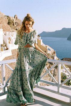 Spell Resort '17 || Kombi button down maxi skirt in sage