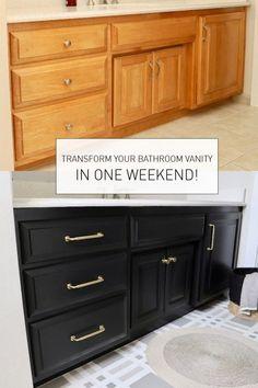 Bathroom Vanity Makeover, Diy Bathroom Remodel, Bathroom Renovations, Home Remodeling, Bathroom Ideas, Bathroom Organization, Refinish Bathroom Vanity, Painting Bathroom Cabinets, Small Bathroom Makeovers