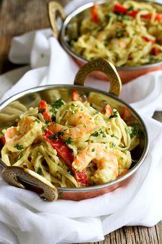 Avocado Curry Rice Noodles with Shrimp