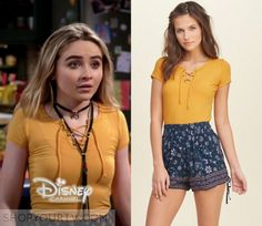 """Maya Hart (Sabrina Carpenter) wears this yellow short sleeved ribbed lace up tee in this episode of Girl Meets World, """"Girl Meets [...]"""