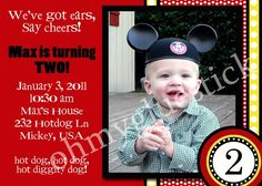 Mickey Mouse Party Invitation #kids #party #mickey mouse #invitation @Oh My Gluestick