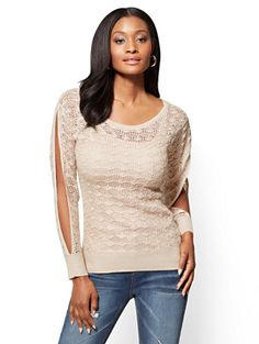 Shop Pointelle-Knit Scoopneck Sweater . Find your perfect size online at the best price at New York & Company.