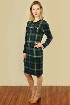 Vtg 80s Green Plaid Gold Button Punk Secretary Mini Bodycon Party Dress S | eBay