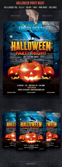 Halloween Party Night Flyer Template PSD #design Download: http://graphicriver.net/item/halloween-party-night/8924247?ref=ksioks
