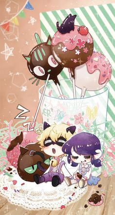 Chibi babes 'n cakepops (Miraculous Ladybug, Marinette, Chat Noir)
