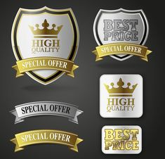 Luxury Royal labels with ribbon banners vector