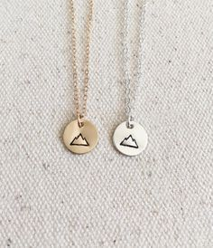 Tiny Mountain Necklace - Everyday Necklace - 14k Gold Filled and Sterling Silver - Hand Stamped Jewelry - Simple Necklace- Gold Disc