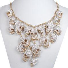 Lots Hollowen Skulls Bib Necklace Clear by HappyHandMaker on Etsy, $38.99