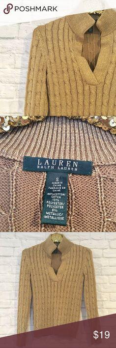 Ralph Lauren Gold Cableknit Sweater Metallic gold cableknit sweater by LAUREN Ralph Lauren.  Size Small.  Excellent condition! Lauren Ralph Lauren Sweaters
