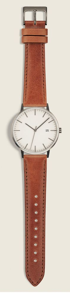 The Minimalist, 38mm, Gunmetal/Tan  High quality watches with Swiss movement, vegetable tanned leather, and sapphire domed glass by Linjer