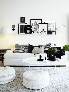 Conjunto de quadros na parede da sala de estar. Amamos a decor em preto e branco.