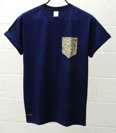 Men's Floral Pattern Navy Blue Pocket TShirt by HeartLabelTees, Cool Shirts, Tee Shirts, Navy Blue T Shirt, New Wardrobe, Casual Wear, Colorful Shirts, Shirt Designs, Cool Outfits, Pocket Tees