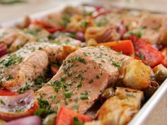 Spanish Baked Salmon recipe from Ree Drummond via Food Network