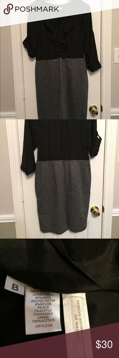 LOFT NWOT Dress NWOT - beautiful dress for day or night. Sleeves can be rolled up or worn down. Tweed skirt zippers on the side for a fitted look. Blouse has ruffled and buttons down. LOFT Dresses Midi