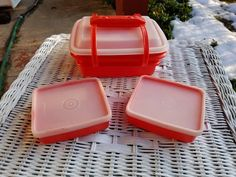 Red Tupperware Pack and Carry Lunch Box, 2 Small Containers, Handle, Lids, Junior Pak-N-Carry, Storage, Child's Lunchbox 1514 1513 1516 1517