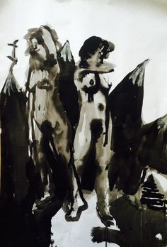 """Holly Froy """"Two Mountains"""" Ink on paper"""