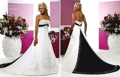 Wholesale Strapless Court black white wedding dress / bridal gown embroidery SZ, Free shipping, $125.35-143.75/Piece | DHgate