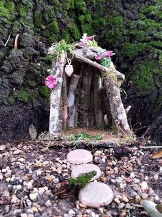 Fairy Garden House Made From Wood and Moss for Outdoor Fairy Garden Fairy Doors On Trees, Fairy Tree Houses, Fairy Village, Fairy Garden Houses, Fairy Gardening, Gnome Village, Garden Waterfall, Gnome House, Fairy Garden Accessories