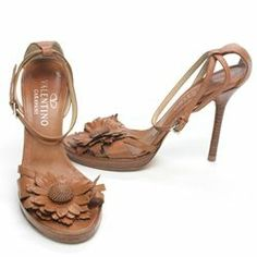 Valentino Brown Leather Flower Strappy Sandal/Heels - $149.99