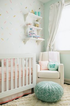 "This dessert-themed nursery is bright, playful and features an amazing ""sprinkles"" accent wall!"