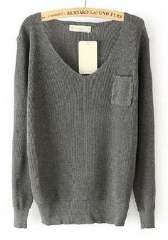 ++ Grey Plain Pocket V-neck pullover