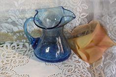 60-70\'s Blenko Blue Crackle Studio Glass Pitcher/Creamer. Starting at $15