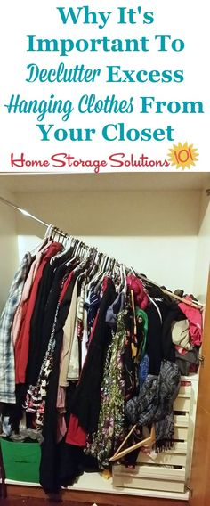 If you add too many clothes to your closet rod it is likely to break or get pulled from the wall, which is an excellent reason to declutter hanging clothes, so you can avoid that issue {on Home Storage Solutions 101}