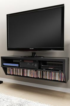 Series 9 Designer Collection 58'' Wide Black Wall Mounted AV Console
