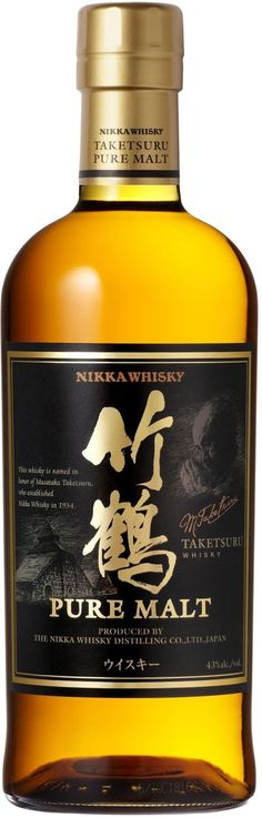 This Japanese whisky, which is a marriage of single malts distilled at the Yoichi and Miyagikyo distilleries, is aged in various types of oak casks. Nikka Taketsuru Japanese Pure Malt Whisky | @Caskers