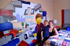 Lego Bedroom in Bright Red, White and Blue