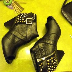 Vince Camuto booties markdown Never worn Vince Camuto gold studded booties. Peep toe and Side buckle and side zipper. Gold hardware. Beautiful bootie. Vince Camuto Shoes Ankle Boots & Booties