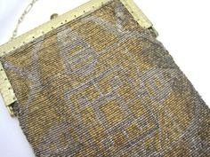 French Steel Cut Beaded Bag - Handbag Purse Silver Gold Art Deco AS IS
